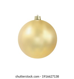 Christmas tree toy. Golden ball isolated on white background. Realistic vector illustration. Design element.