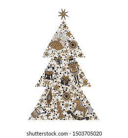 Christmas tree with toys from the ballet Nutcracker. Christmas illustration in gold and silver colors.
