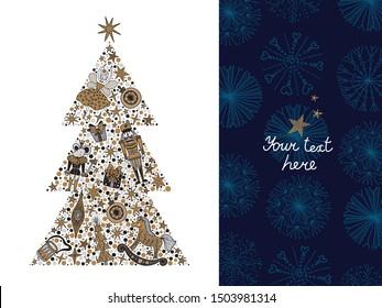 Christmas tree with toys from the ballet Nutcracker. Christmas card in gold and silver colors.