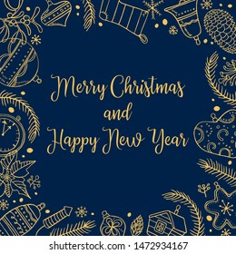 Christmas tree toys. Holiday card rectangular frame template. Hand drawn outline color vector illustration. New Year decorations and plants. Gold on dark blue background