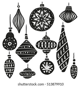 Christmas tree toys vector illustration - unique creative hand drawn elements, isolated on background. Cute modern stylized design - balls, decorative icicle, fir cones and lamps.