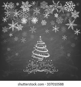 Christmas Tree. Trendy Design Template on blackboard. Vector illustration.