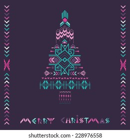 Christmas Tree - Tribal Vintage Aztec Theme - hand drawn in vector