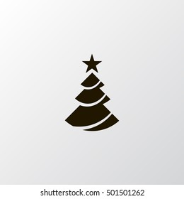 Christmas tree vector, clip art. Also useful as icon, logo, greeting card, web element, symbol, graphic image, silhouette and illustration.