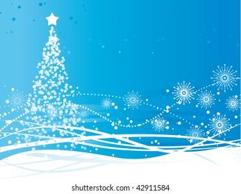 A christmas tree vector greeting card