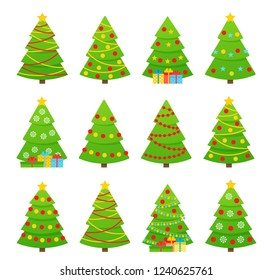Christmas tree. Vector. Tree icon in flat design. Xmas cartoon background. Set merry spruce firs. Winter illustration isolated on white. Computer graghic. Collection pines with garland, star, balls.