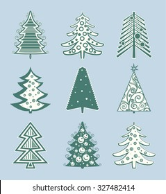 Christmas tree vector icons.