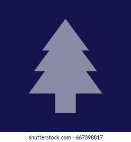 Christmas tree vector illustration. Blue icon
