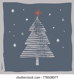Christmas tree a vector illustration, a minimalistic New Year Card made of hand draw, craft and linoprint elements, isolated on grey background