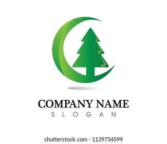 Christmas Tree vector illustration and nature eco logo