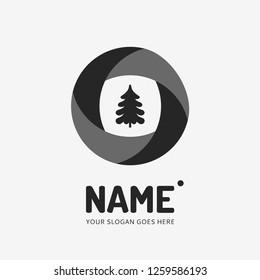 Christmas tree. Vector logo design. Business concept icon.