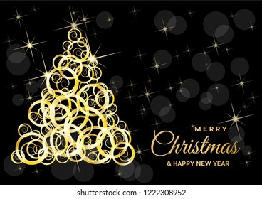 Christmas tree, vector postcard or greeting. Gold curls, wealth and prosperity concept.