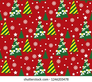 Christmas tree vector seamless pattern