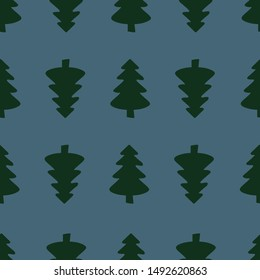 Christmas tree vector seamless pattern. Merry Christas and happy new year greeting wallpaper. winter holiday background.