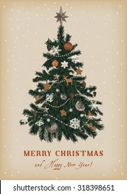 Christmas tree. Vector vintage illustration. Merry Christmas And Happy New Year. Greeting card.