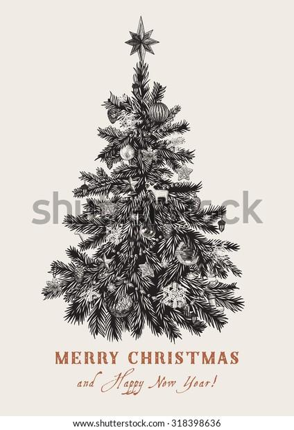 Christmas Tree Vector Vintage Illustration Black Stock Vector