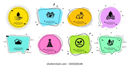 Christmas tree, Water care and Animal tested line icons set. Chat bubbles with quotes. Fair trade, Startup and Cloudy weather signs. Water splash, Plants watering symbols. Spruce, Aqua drop. Vector