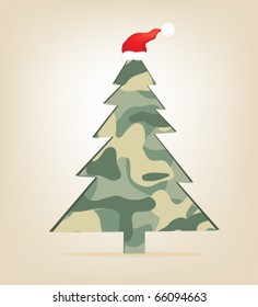 Christmas tree wearing a cap. Military
