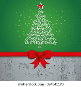 Christmas tree with white stars on the green background. Eps 10 vector file.