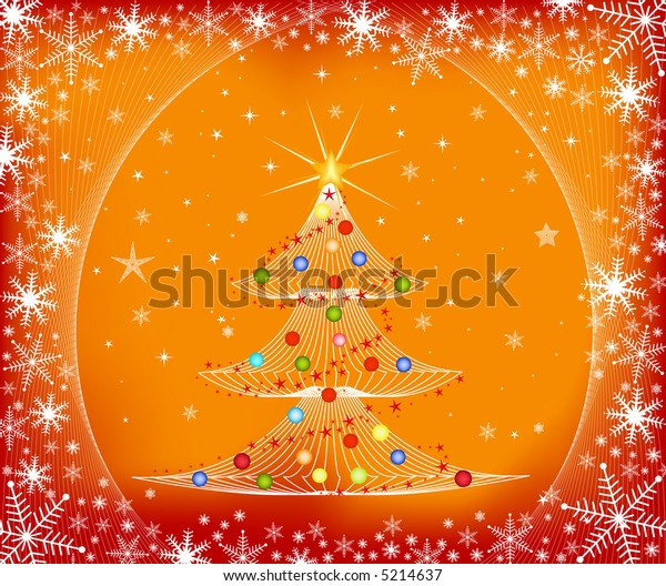 Christmas tree and winter background - vector