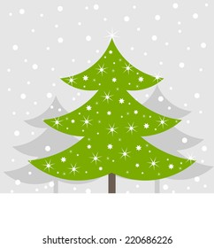 Christmas tree in winter scenery background. Vector illustration