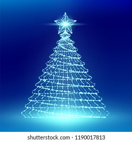 Christmas Tree wuth Star wireframe polygon bokeh light frame structure and lens flare, Technology connection concept design illustration isolated on blue gradient background with copy space
