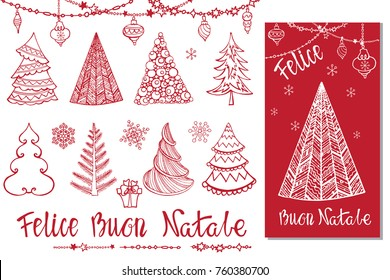 Christmas tree,bals,lettering. Buon Natale italian template.Hand drawn doodle decotation,garlands,handwriting  wishes,snowflakes.Greeting card .Holiday design,Vintage Winter vector