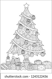 Christmas tree,presents and ornaments drawing for cards and coloring book,coloring page.Vector illustration