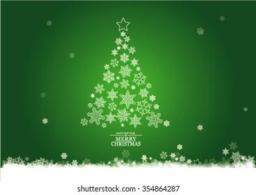 Christmas trees, background, snowflakes