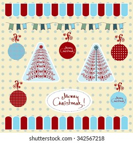 Christmas trees, balls and flags. Isolated vector elements and background for holiday design