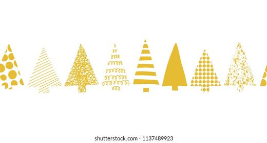 Christmas trees border. Christmas trees in a row vector seamless pattern. Geometric tree silhouettes gold on a white background. Perfect for Christmas cards, gift wrap, fabric, packaging.