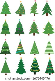 Christmas trees collection. Set of vector Christmas trees