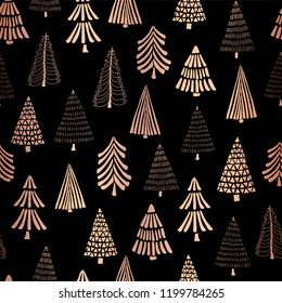 Christmas trees copper foil seamless vector pattern backdrop. Metallic shiny rose golden doodle trees on black background. Elegant design for Christmas, New Year, gift wrap, party invitation, card