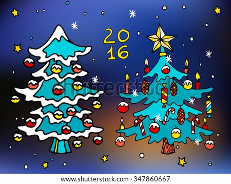christmas trees decorated with toys and stars merry christmas and happy new 2016 year colorful