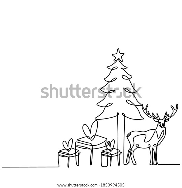 Christmas trees and deers continuous one line vector drawing. Reindeer with gift box christmas party in winter season. Merry Christmas banner, minimalist style isolated on white background