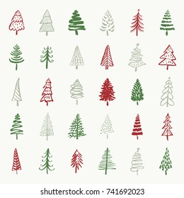 Christmas trees hand drawn brush painted ink set. Doodle trees for holiday designs.