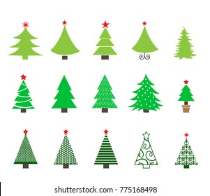 Christmas trees icons set. Vector illustration.