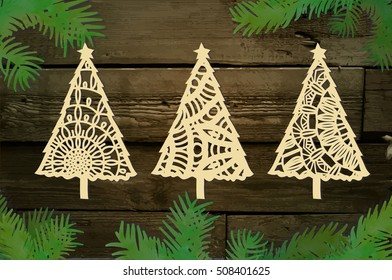 Christmas trees. Laser cutting card.
