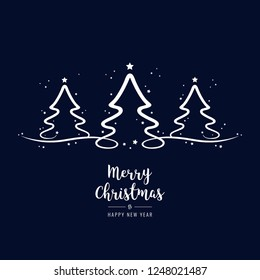 christmas trees lettering greetings blue background