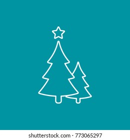 Christmas trees line icon, vector outline simple decoration element. Symbol of two fir-tree isolated on blue.