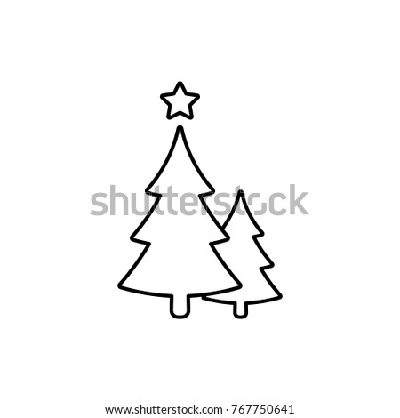 Christmas Trees Line Icon Vector Black Stock Vector Royalty Free