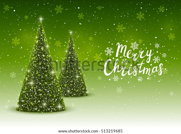 Christmas trees on shiny green background