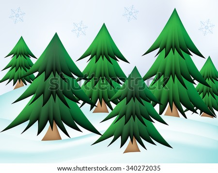 Christmas Trees On Snow Land Snowflakes Stock Vector Royalty Free
