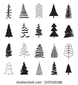 Christmas trees on white. Black and white illustration