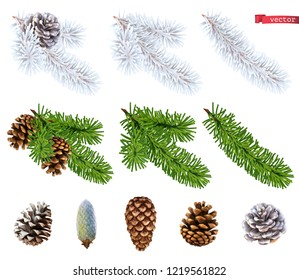 Christmas trees and pine cones. 3d realistic vector icon set
