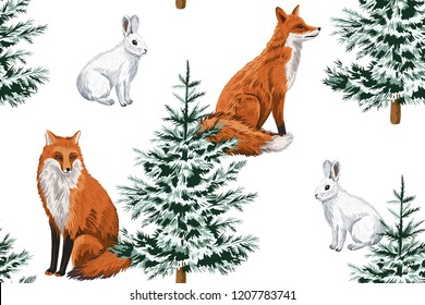 Christmas trees, red fox and white rabbit floral seamless pattern white background. Winter forest wallpaper.