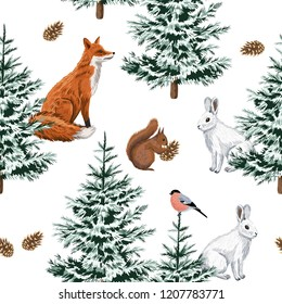 Christmas trees, red fox, white rabbit,  squirrel and bullfinch floral seamless pattern white background. Winter forest wallpaper.