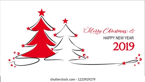 christmas trees with red stars - merry christmas - happy new year - 2019