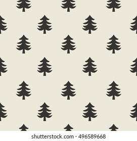 Christmas trees. Seamless Pattern with Spruce Trees. Endless Print Silhouette Texture. Ecology. Forest.  Retro.