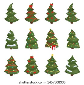 Christmas trees set isolated on white background. Vector
